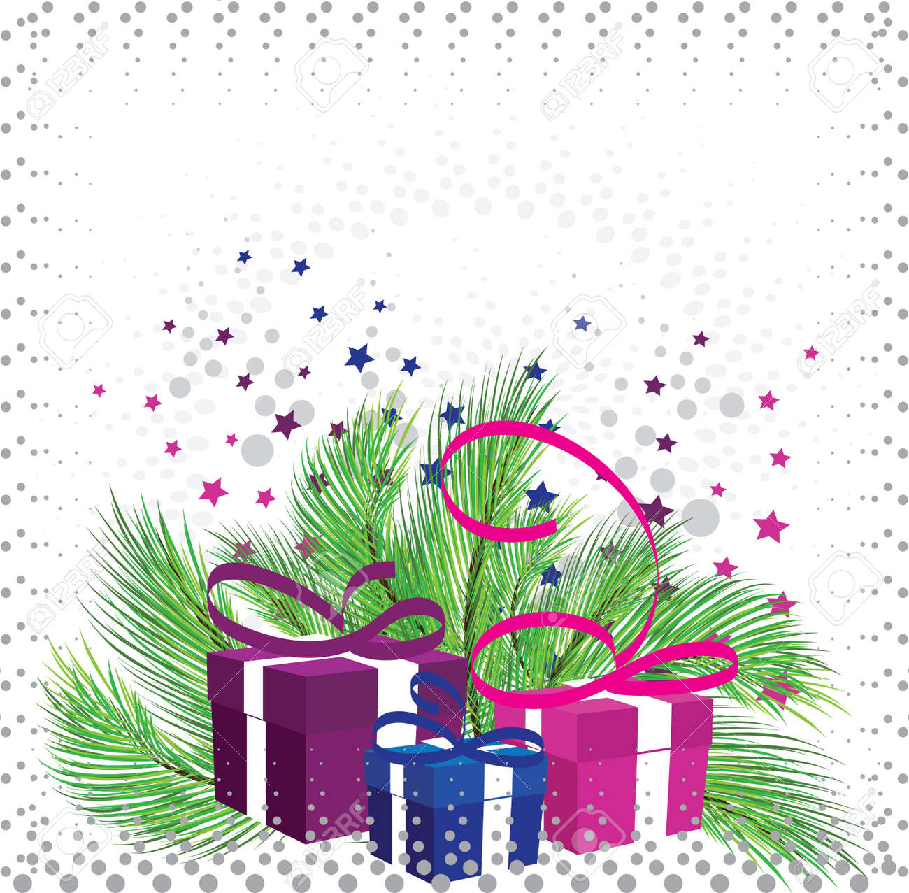Christmas gifts on the background of pine branches, stars and snow Stock Vector - 11124282