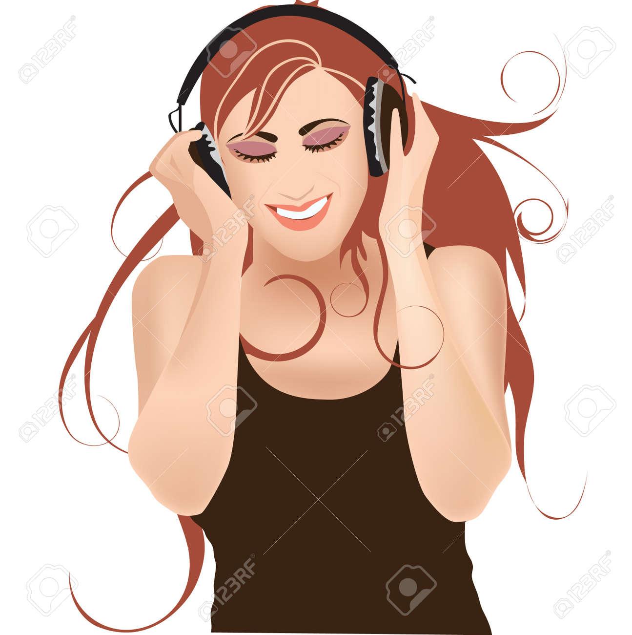 Girl in headphones listening music Stock Vector - 11124286