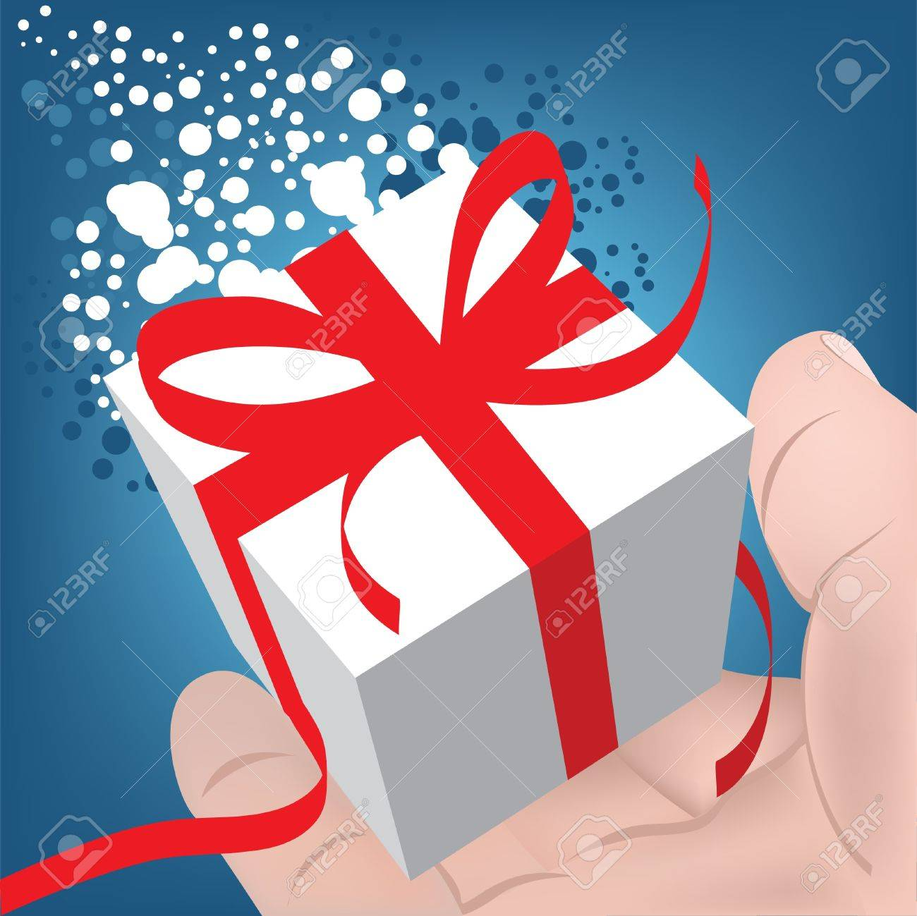For you! Gift Box in a man's hand. Christmas gift. Stock Vector - 11242202