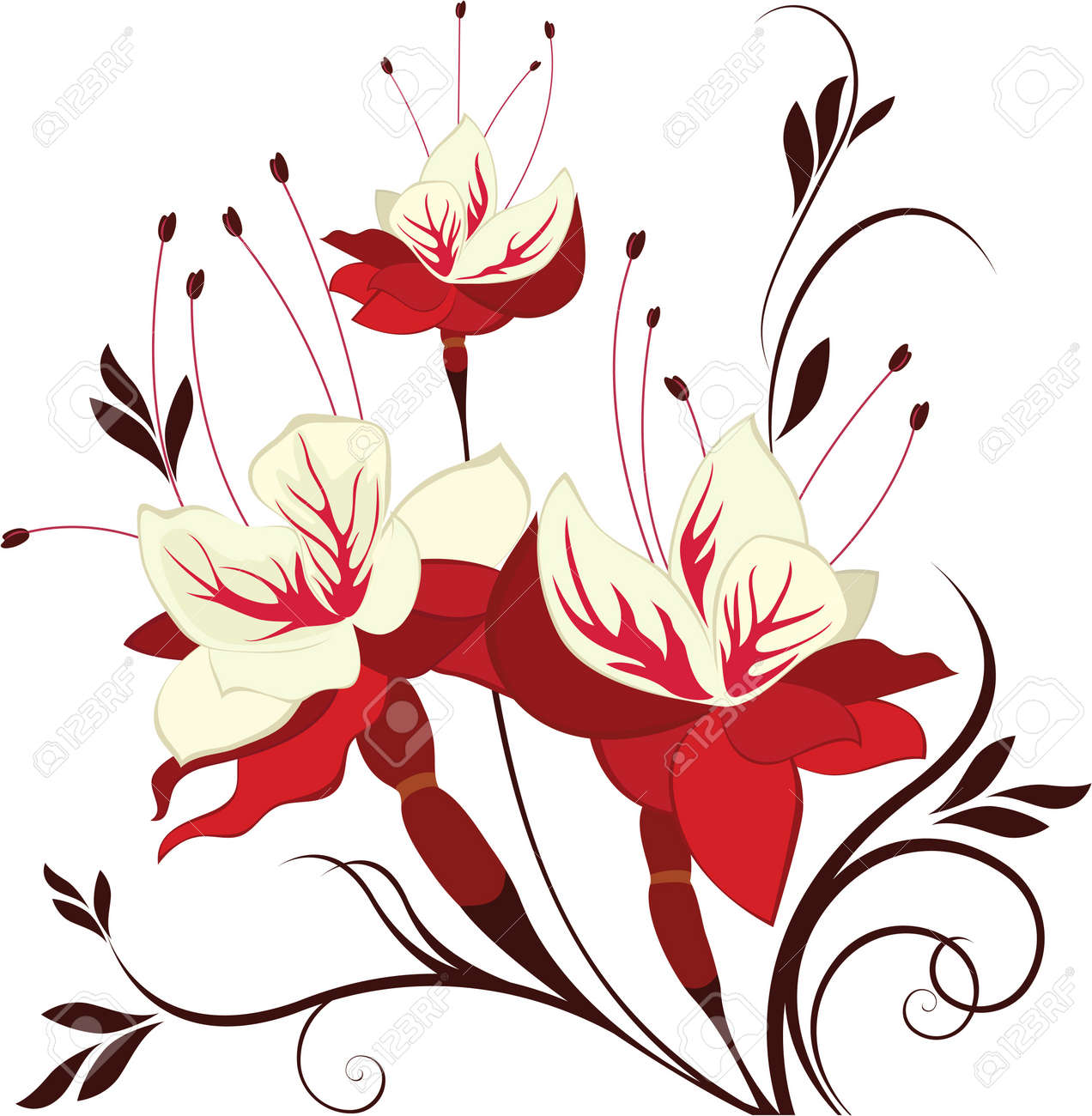 flower fuchsia decorative composition bunch of flowers stock vector 13001892 - Decorative Flowers