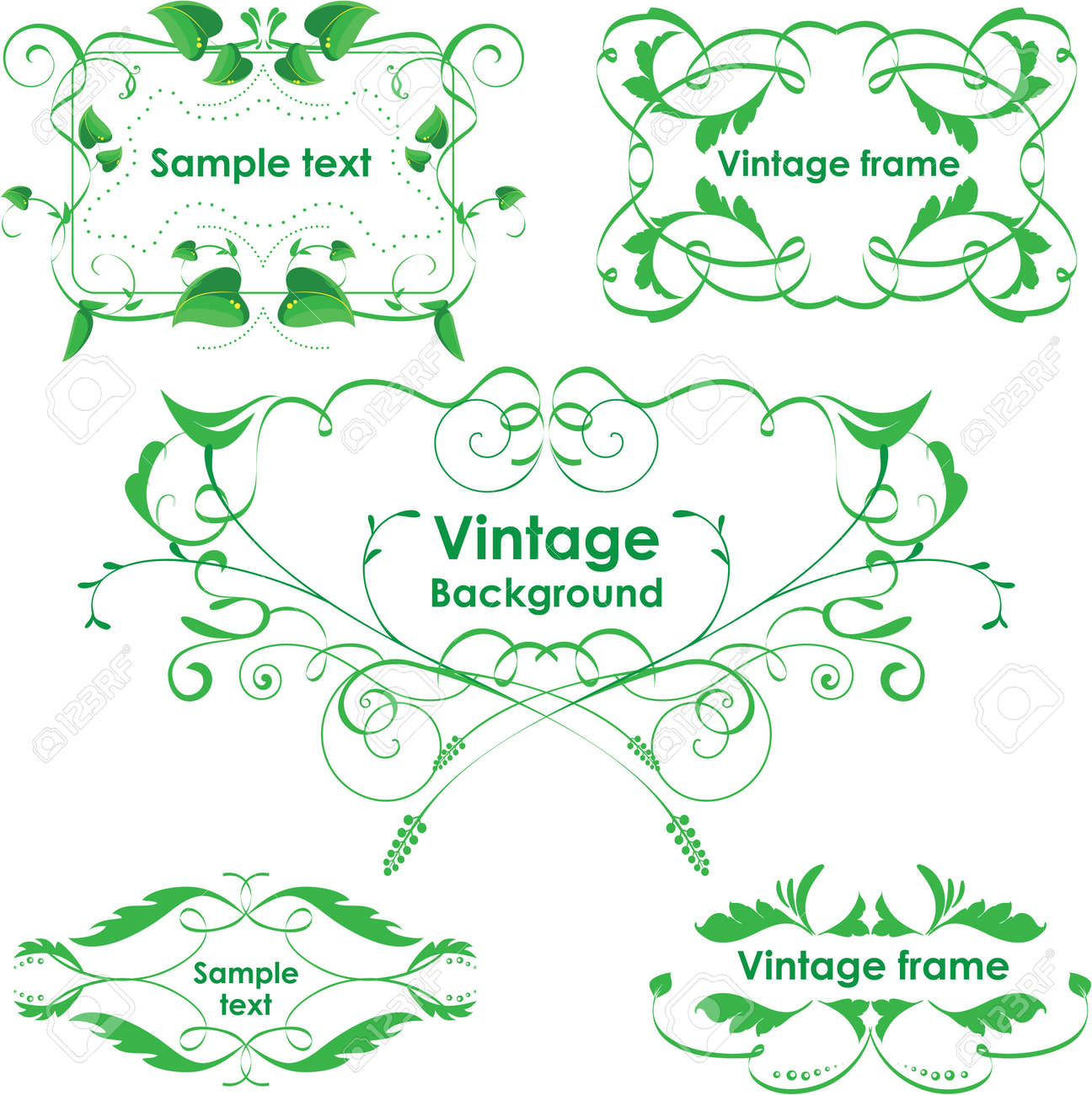 Vintage frames. Vector design elements. Eco green Stock Vector - 13582599