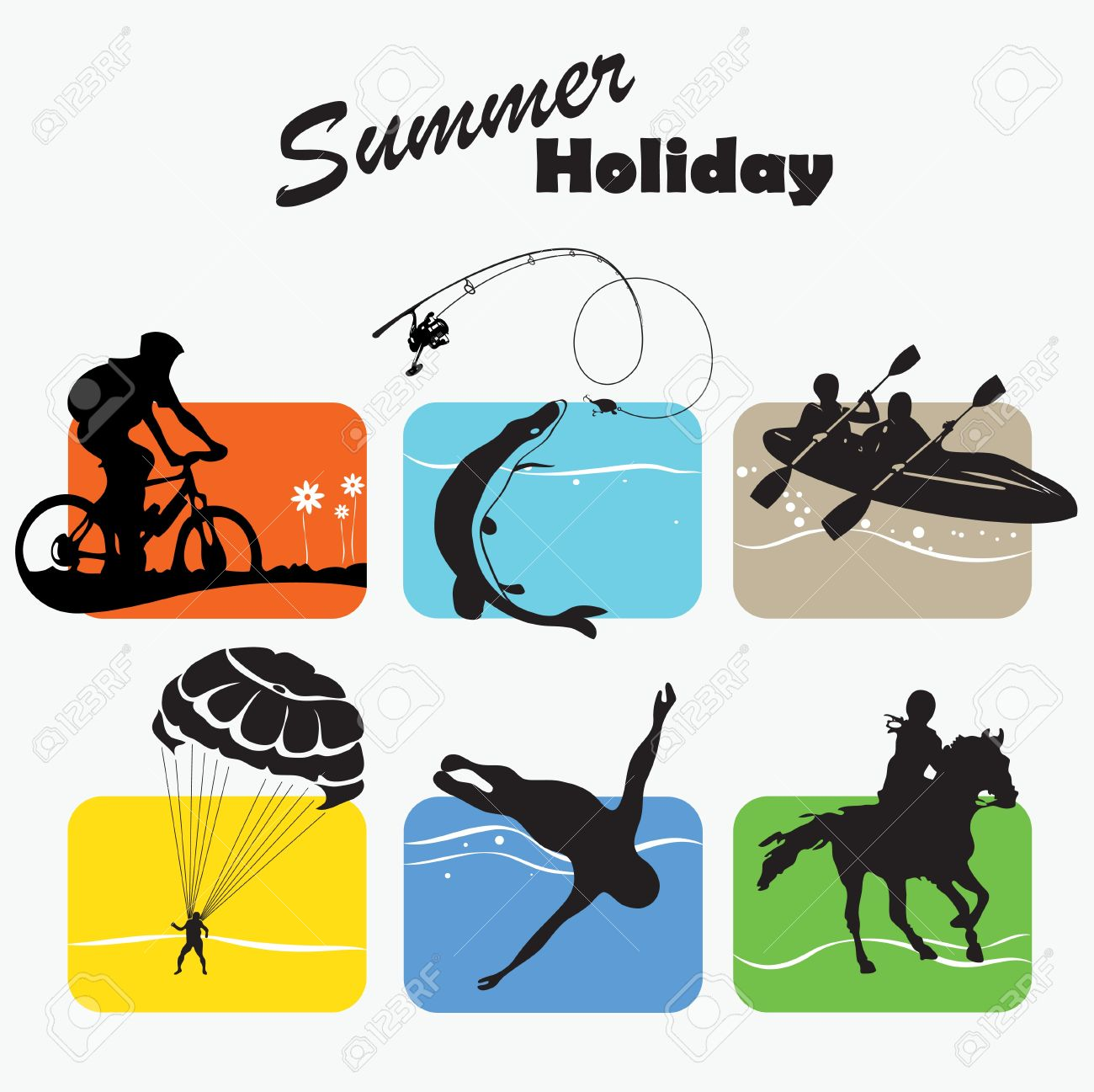 Active rest, summer holiday, set icon - 14607430