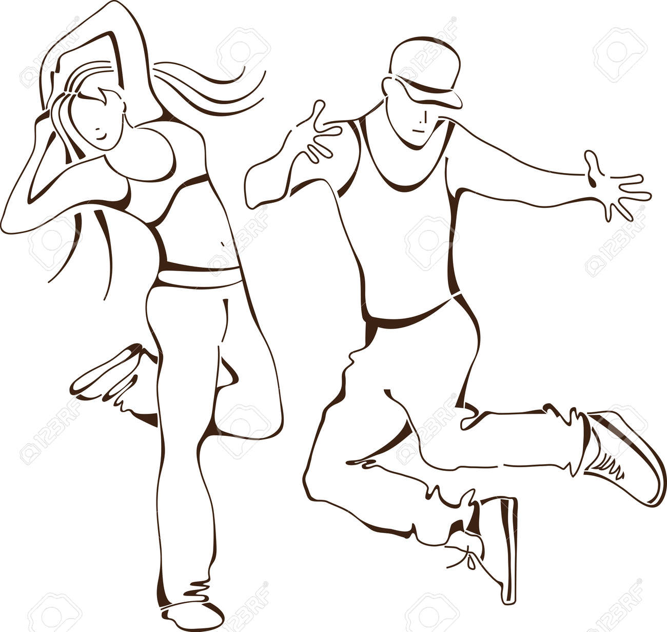 Hips Line Dance Hip-hop Dance Set Icon People