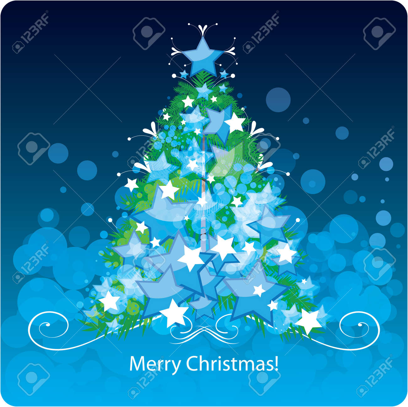 Christmas Tree Greetings Card Royalty Free Cliparts Vectors And