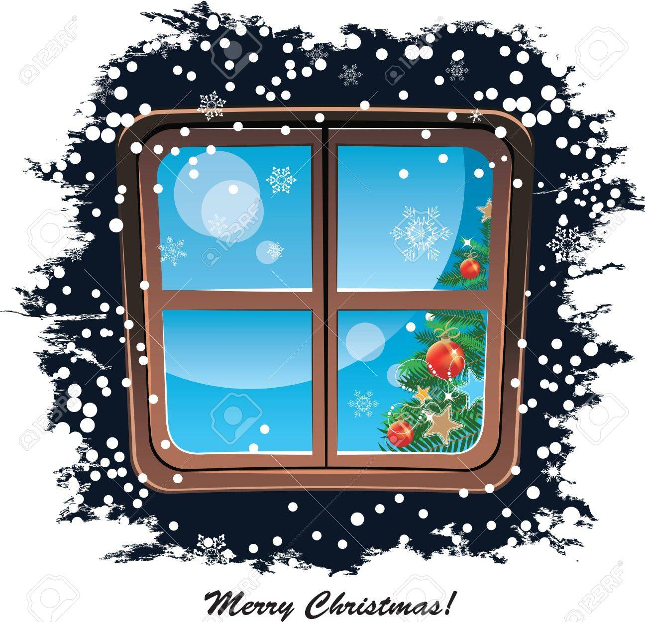 Window, snowy night, Christmas background Stock Vector - 16304031