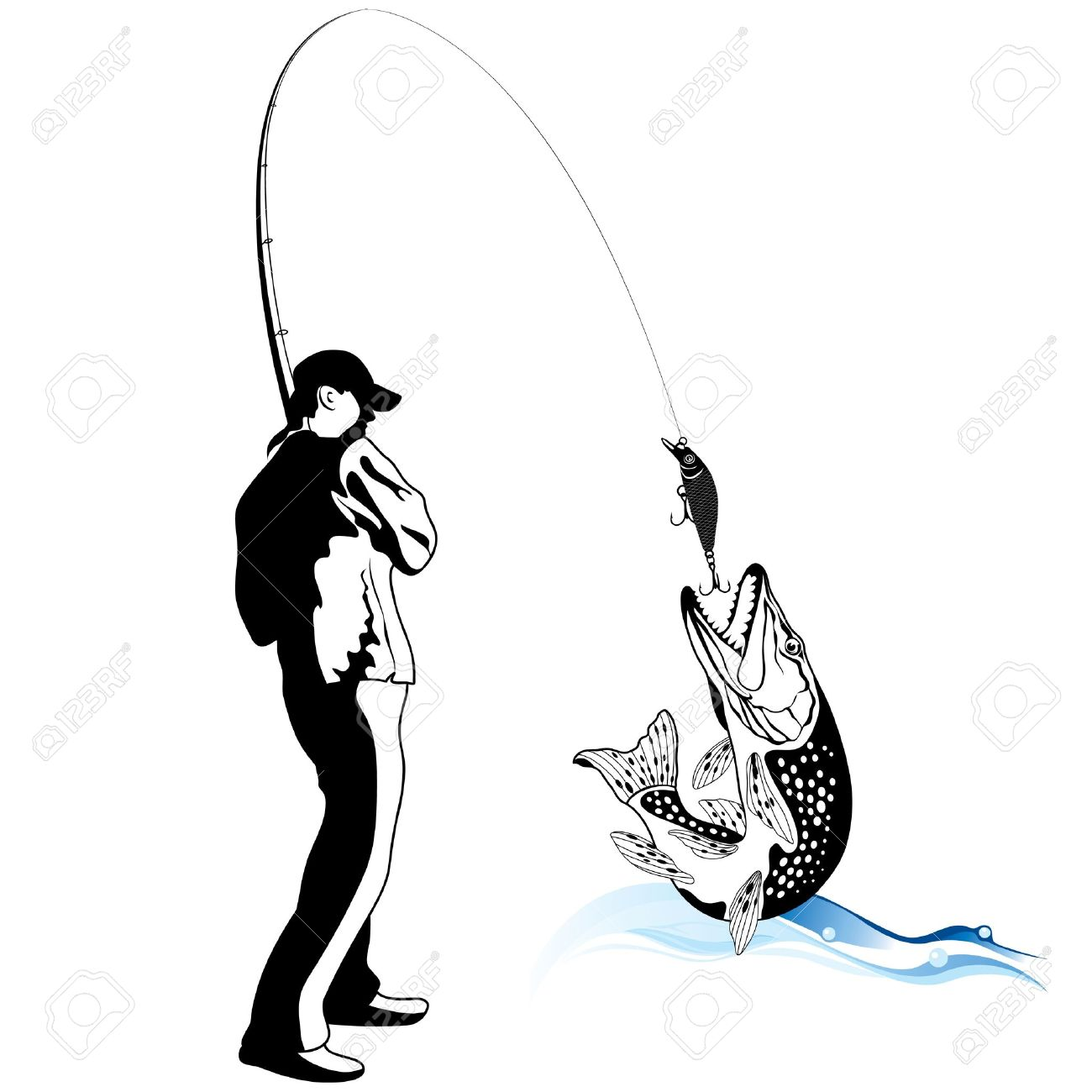 Fisherman caught a pike,  illustration Stock Vector - 17492373