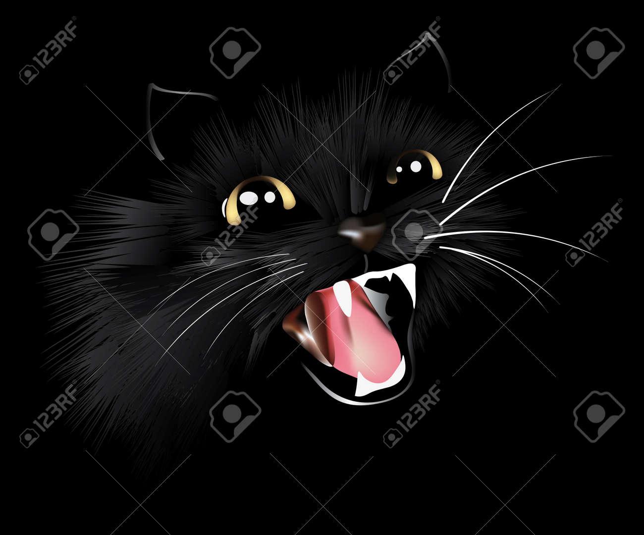 Evil Black Cat, Halloween Background, Vector Illustration Royalty ...