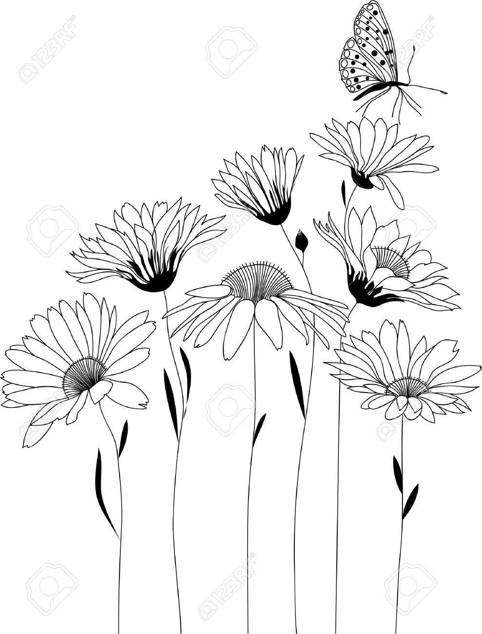 Fleurs Stylisées conception florale, bouquet de fleurs stylisées, illustration