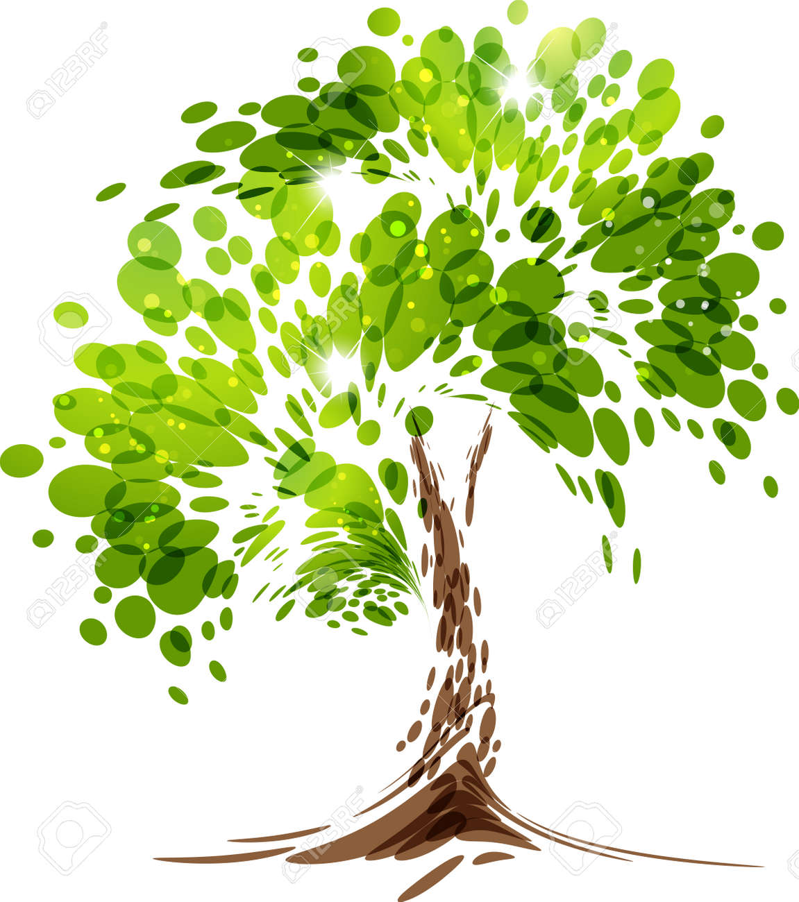 Green stylized vector tree on white background - 59220772