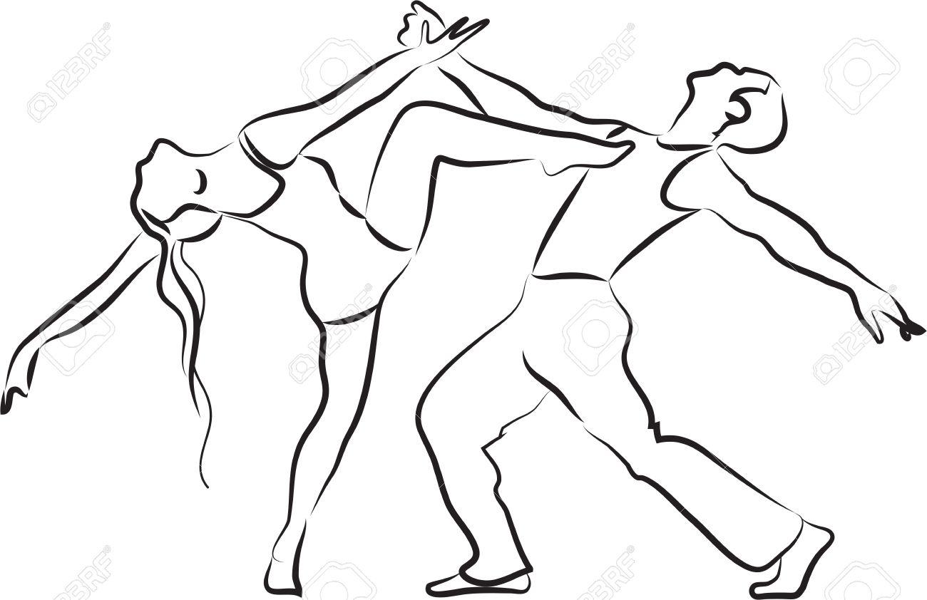 Silueta De Bailarines Danza Contemporánea Esquema Pareja Sobre Un Fondo Blanco