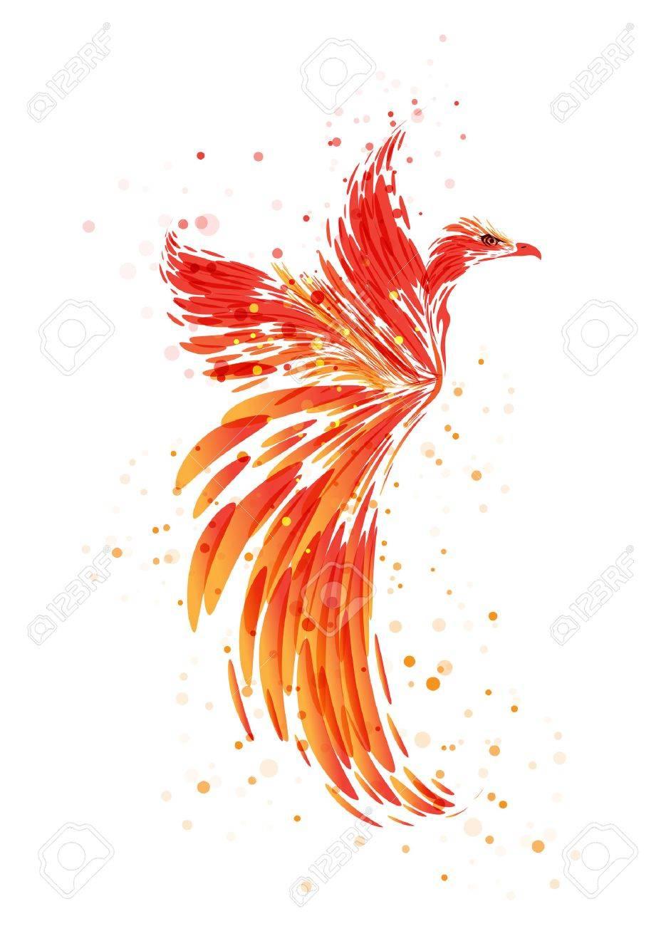 Flaming Phoenix on white background, burning mythical bird - 63816905