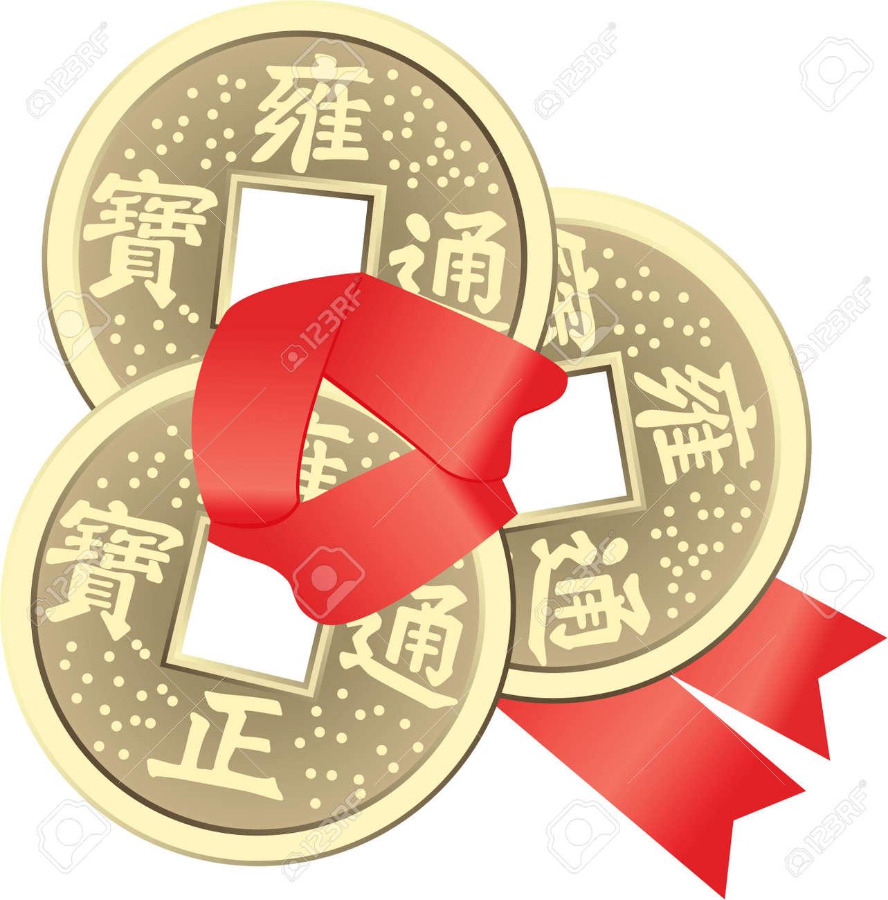 Chinesische Feng Shui Münzen Für Reichtum Und Erfolg Lizenzfrei