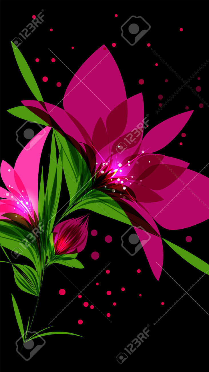 Bright Pink Flower On Black Background Editable Vector Illustration