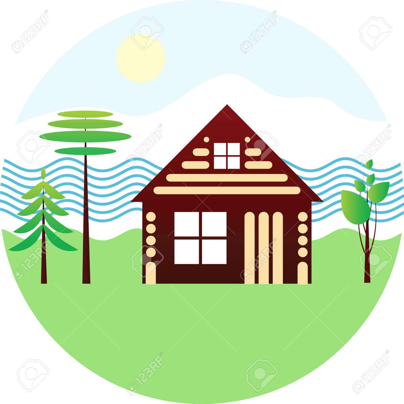 Set Icon - Wooden House, River, Different Trees, Schematic Drawing