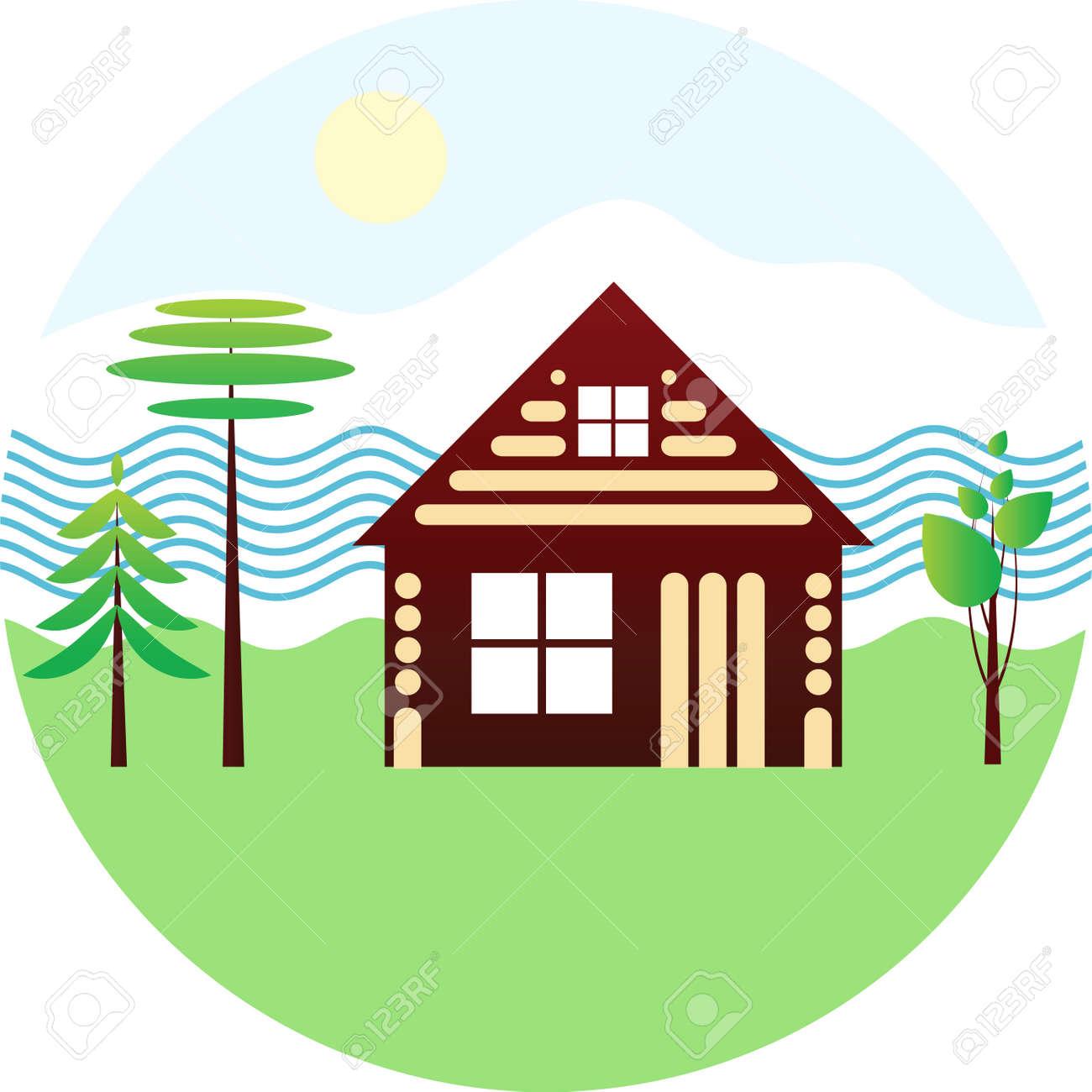 Set Symbol - Holzhaus, Fluss, Verschiedene Bäume, Schematische ...