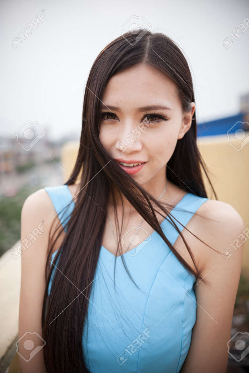 Asian girls long black hair