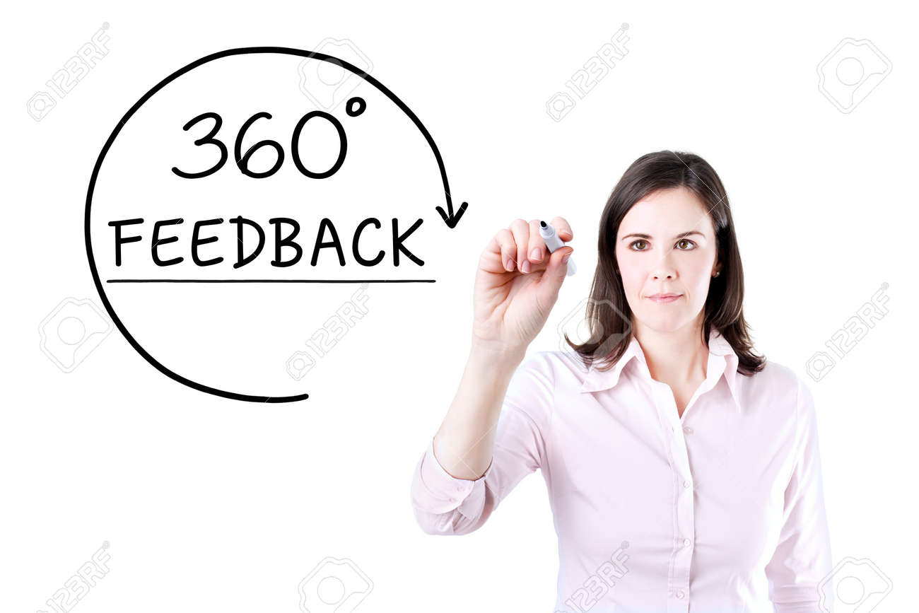 Businesswoman drawing a 360 degrees Feedback concept on the virtual screen. - 54753272