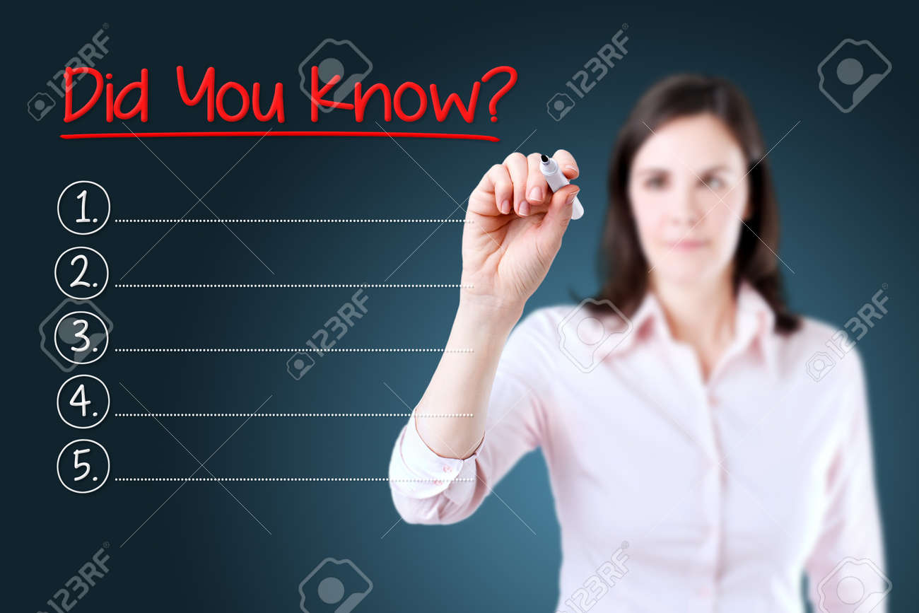 Business woman writing blank Did you know? List. Blue background. - 54756643