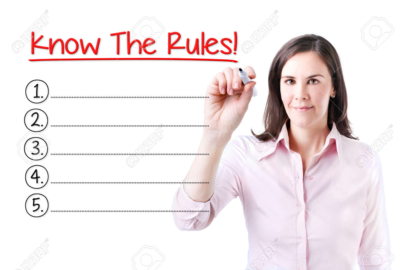 Business woman writing blank Know The Rules! List. Isolated on white. - 55264621