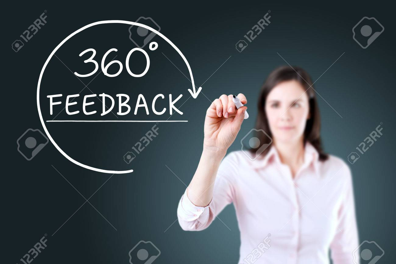 Businesswoman drawing a 360 degrees Feedback concept on the virtual screen. Blue background. - 55278905