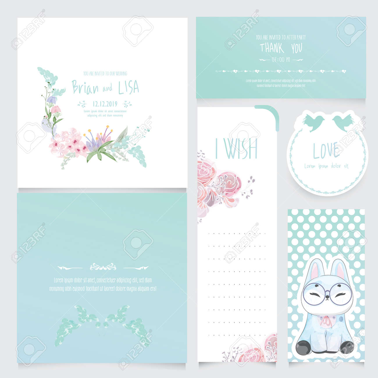Set Of Vintage Floral Wedding Card in watercolor style. - 134808465