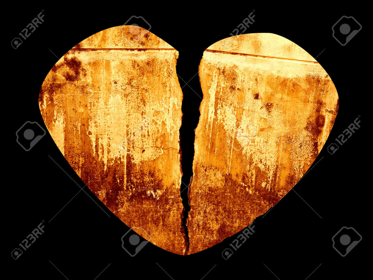 Broken Heart Grunge Crack Style Illustration Isolated on Black Stock Illustration - 17379425