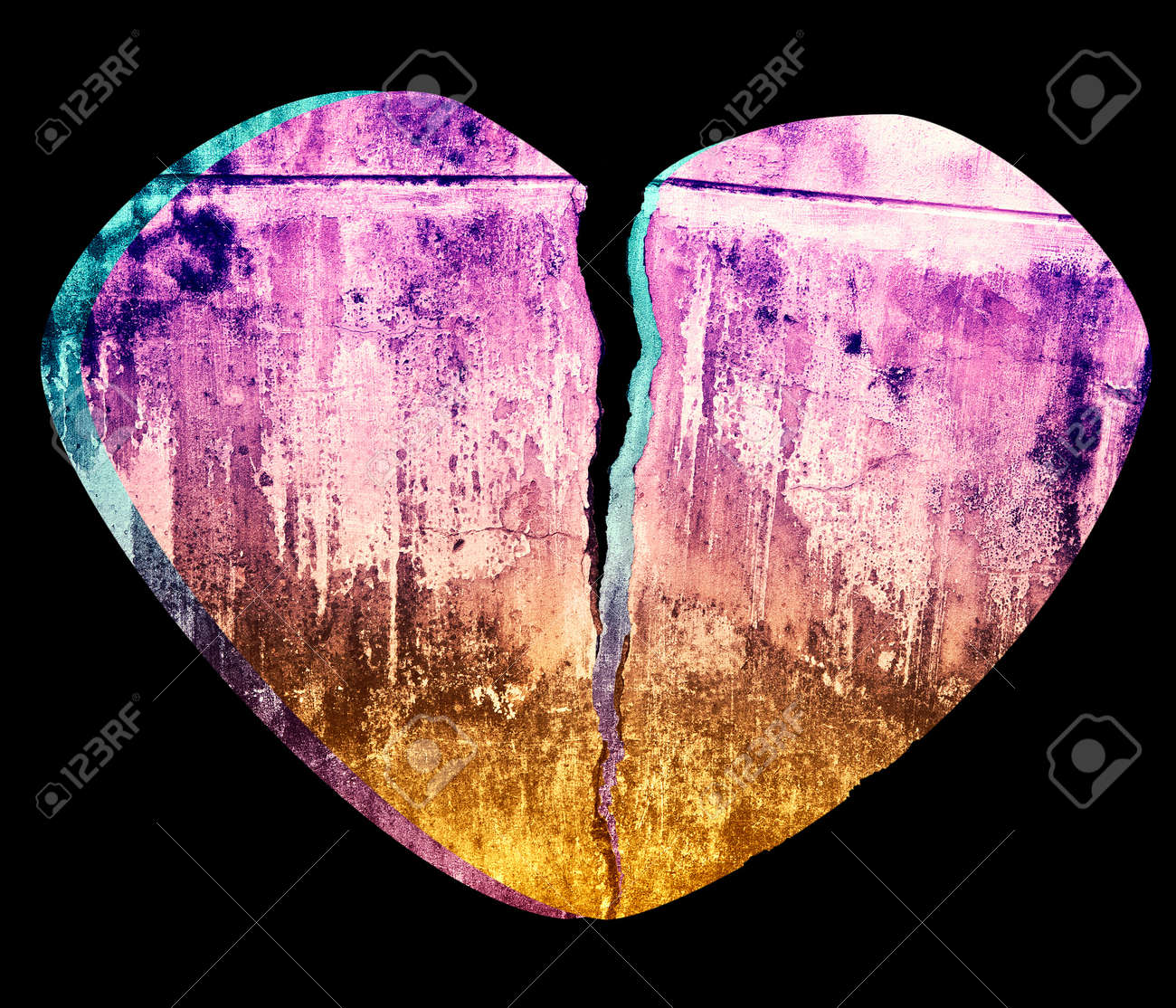 Broken Heart Grunge Crack Style 3D Illustration Isolated on Black Stock Photo - 17380526