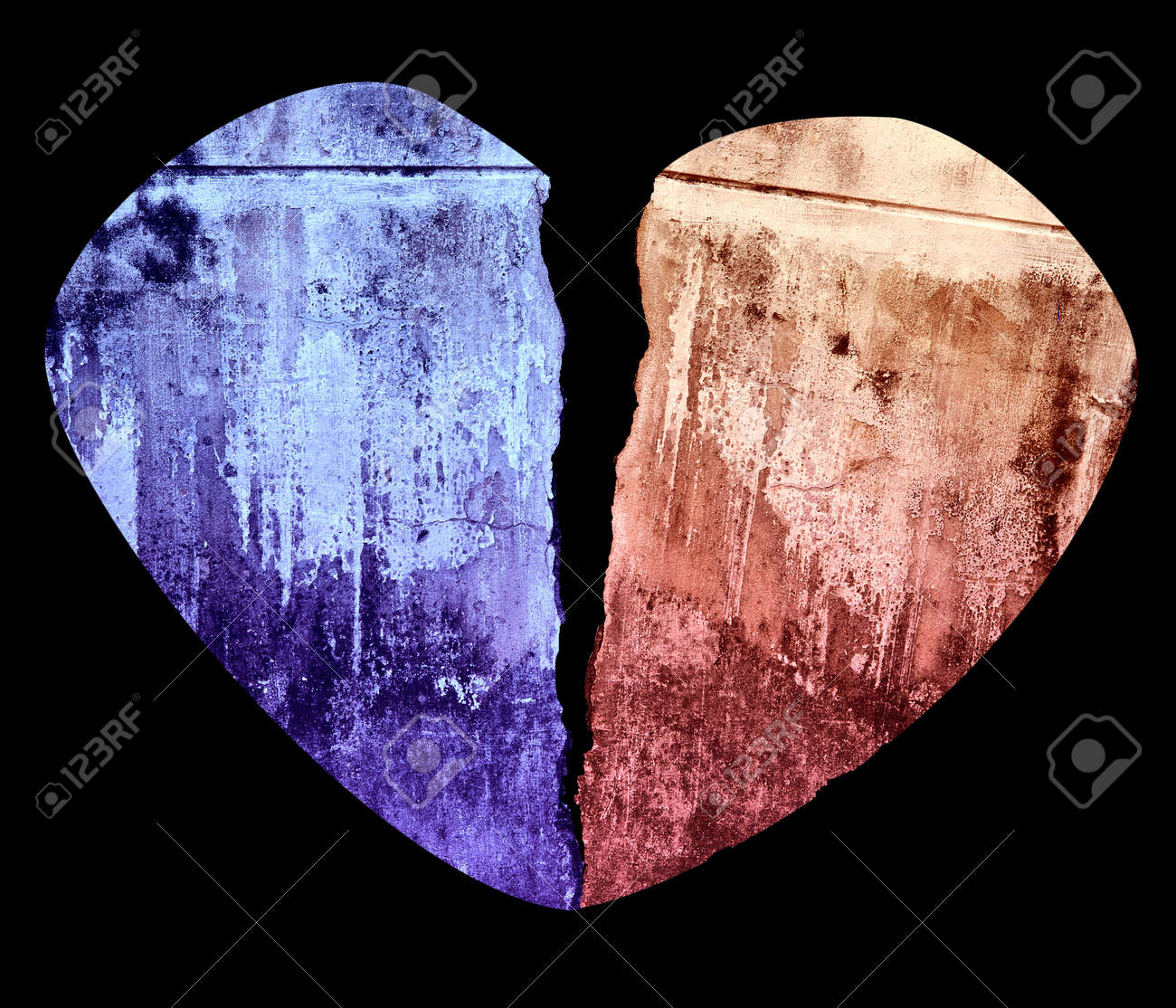 Broken Heart Grunge Crack Style Illustration Isolated on Black Stock Illustration - 17379413