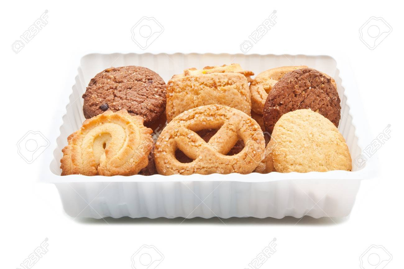 Assorted cookie in plastic box , isolated on white Stock Photo - 17798329