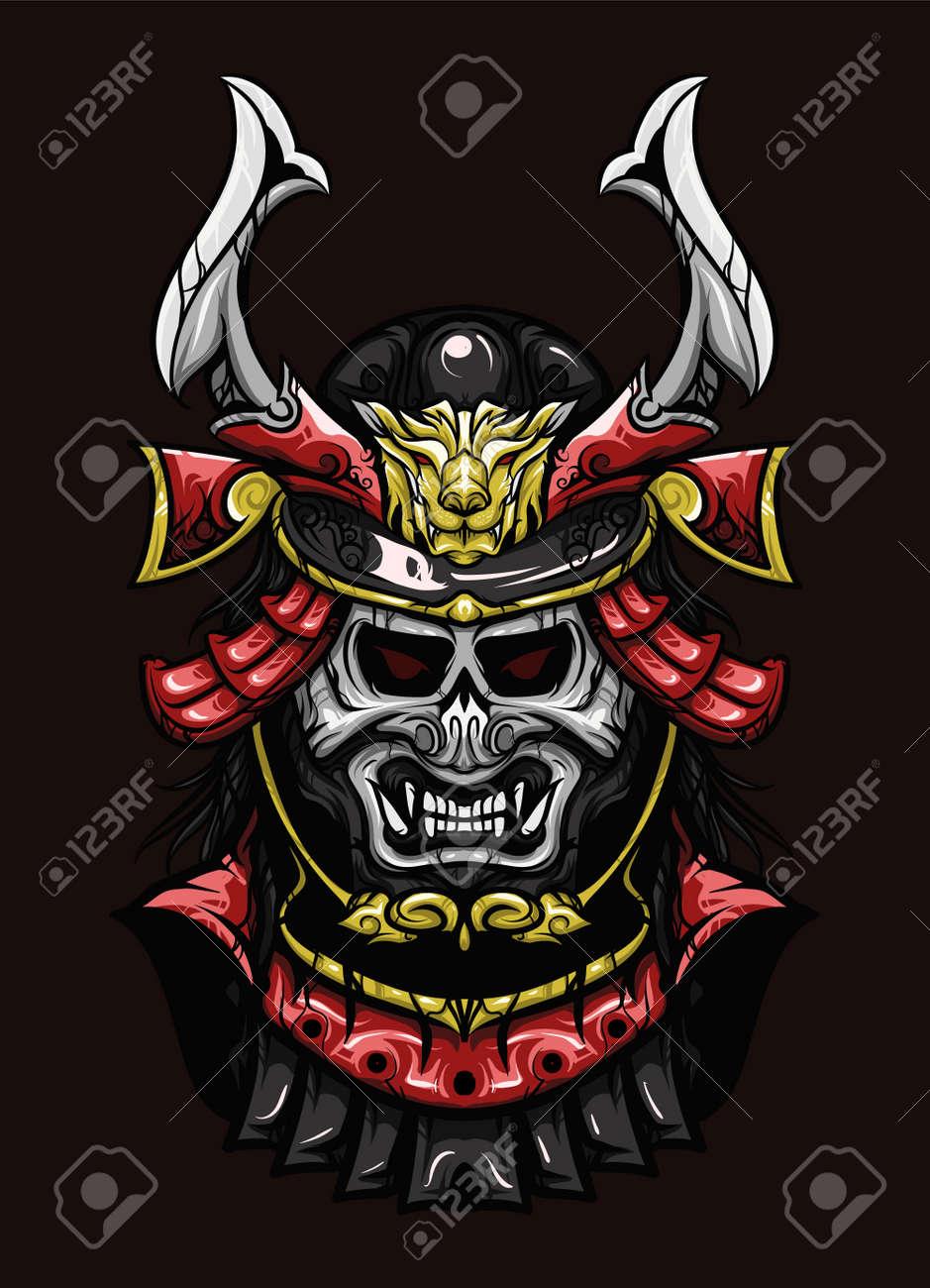 Oni Samurai Head Vector Illustration Royalty Free Cliparts Vectors And Stock Illustration Image 148629586
