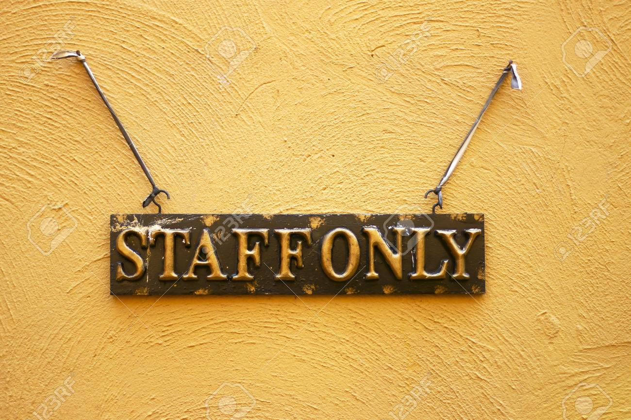 Staff Only Hanging Sign On Cement Wall Stock Photo Picture And