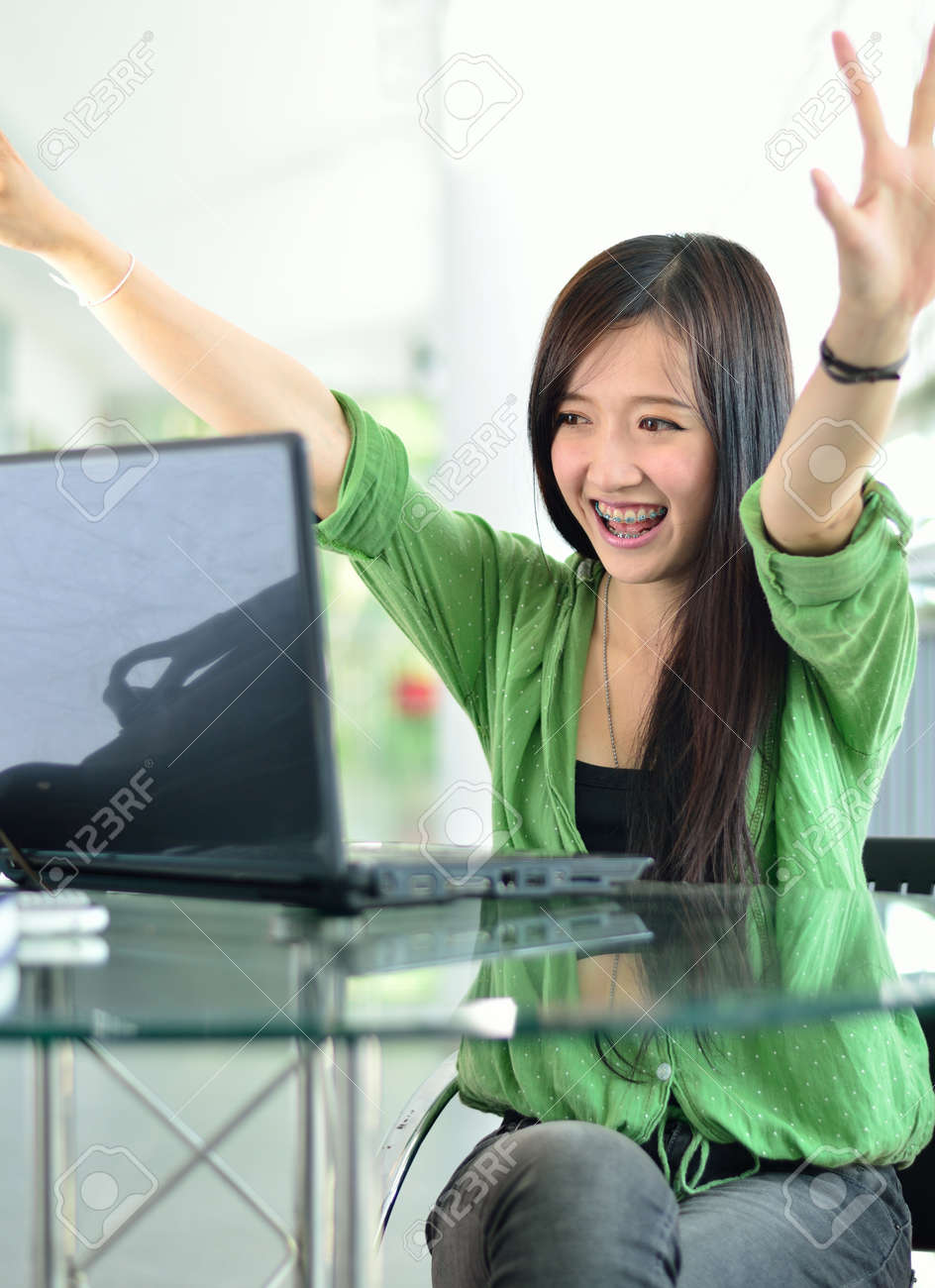 beautiful young student smiling after interview job success stock beautiful young student smiling after interview job success stock photo 16882879