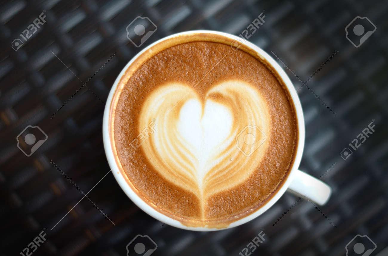 Close up Coffee latte art on black background Stock Photo - 18257353
