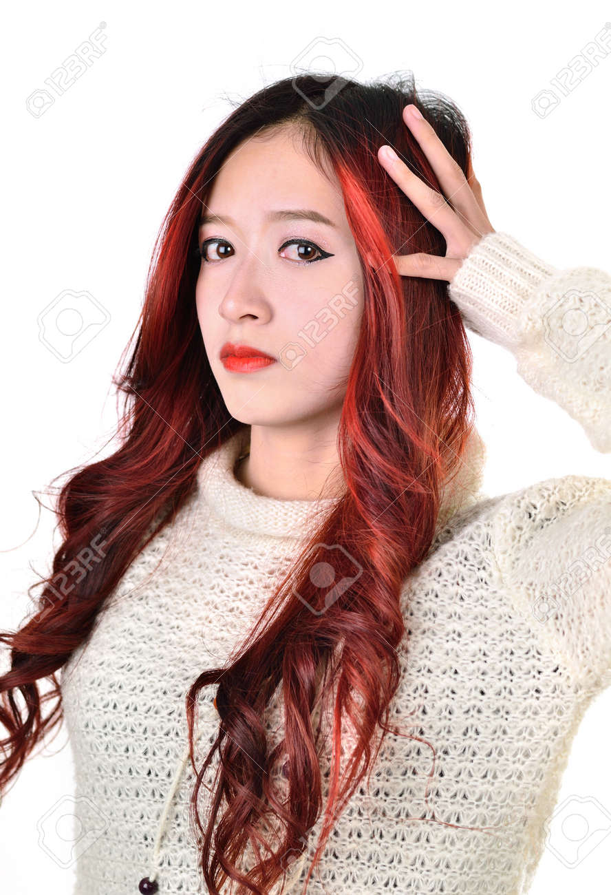 Asian Women With Red Color Long Hair In Modern Lifestyle Fashion