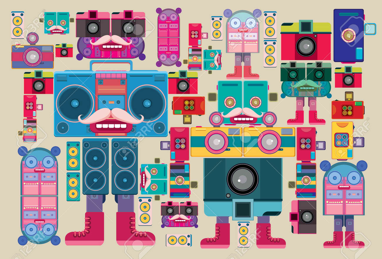Vintage robot pattern sticker and wallpaper Stock Vector - 21817501