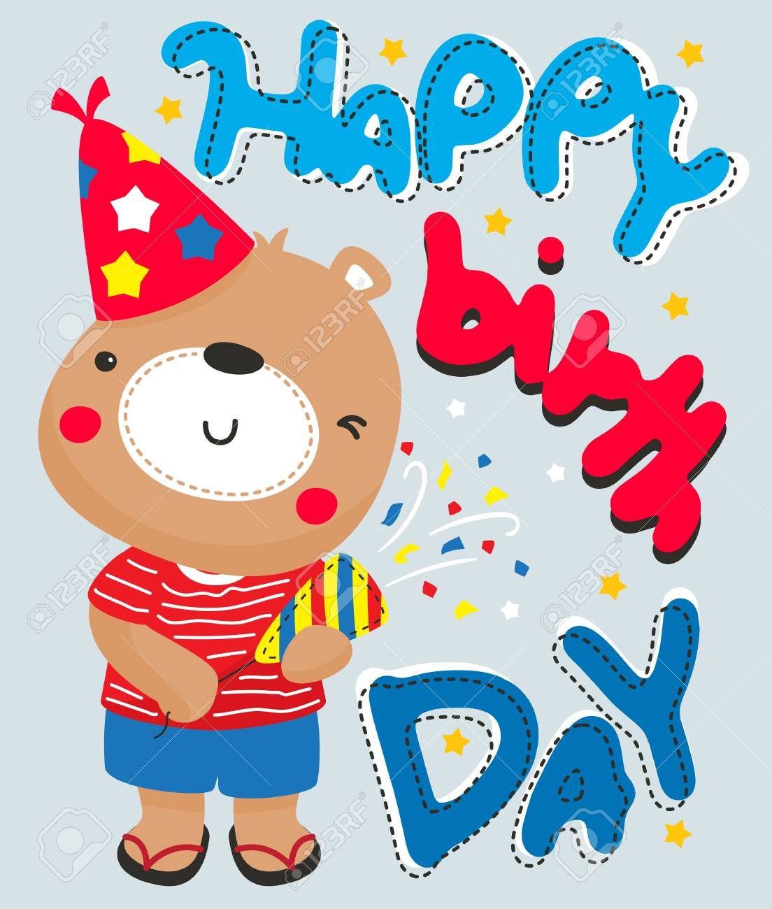 Cartoon Cute Teddy Bear Using Party Popper Happy Birthday Greeting Card For Illustration