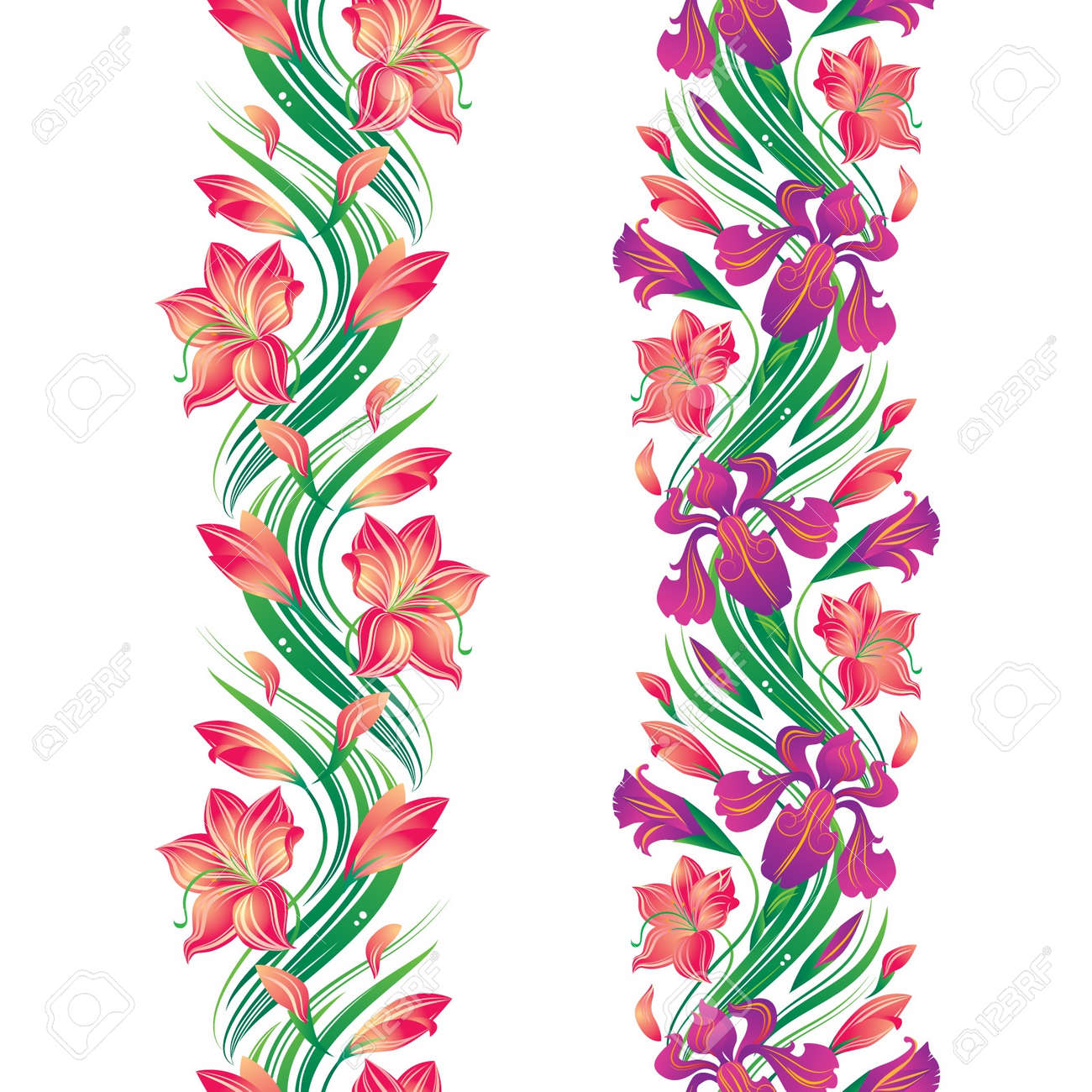 Seamless flower border with irises and lilies Stock Vector - 16622222