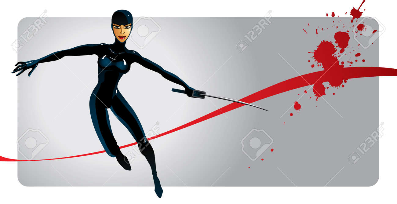 Ninja girl Stock Vector - 16622217