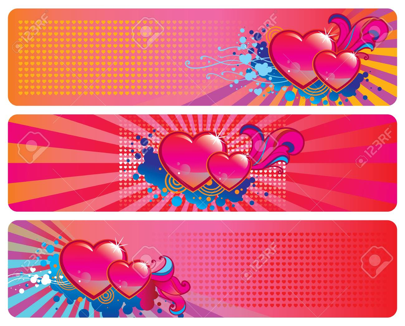 Set of three banners for Valentine s Day Stock Vector - 16953174