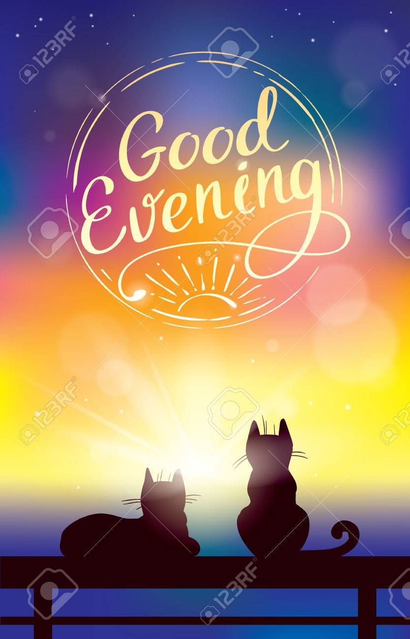 Colorful Background With Two Cats Watching Sunset And Sign Wishing