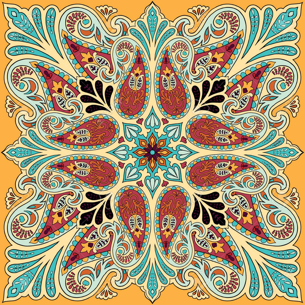 Banque d images - Impression de bandana Vector avec ornement paisley.  Foulard en soie, motif carré de foulard, tissu de style oriental. 5d865aeb334