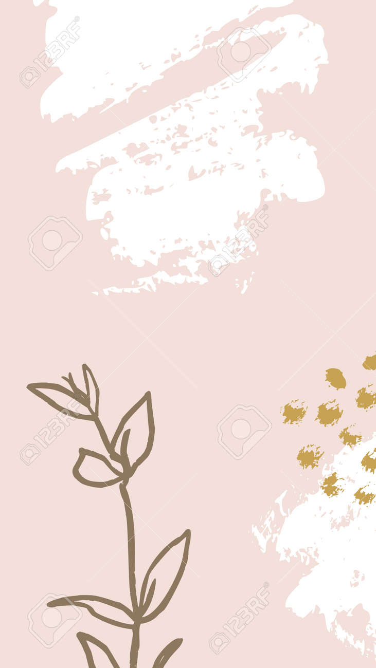 Brush Stroke Backgrounds With Floral Elements Abstract Mobile Royalty Free Cliparts Vectors And Stock Illustration Image 141714624