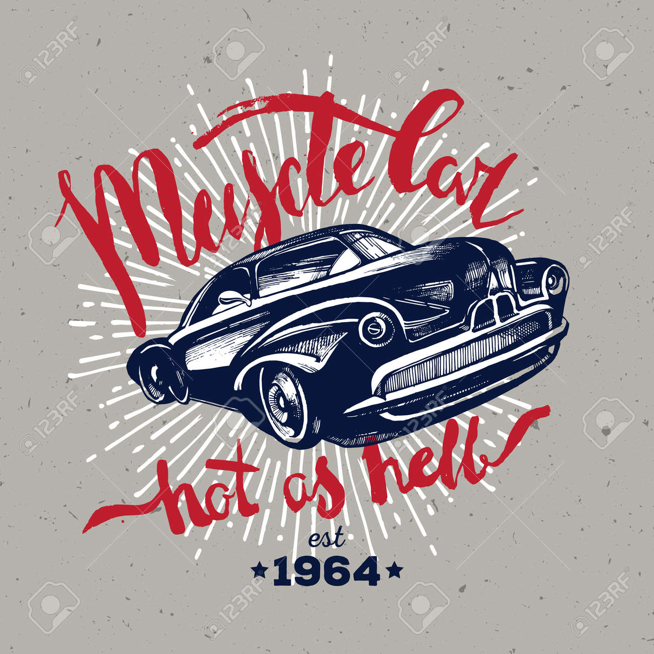 2eb90f16f Muscle car. Retro classic amercian car. T-shirt hipster design Stock Vector  -