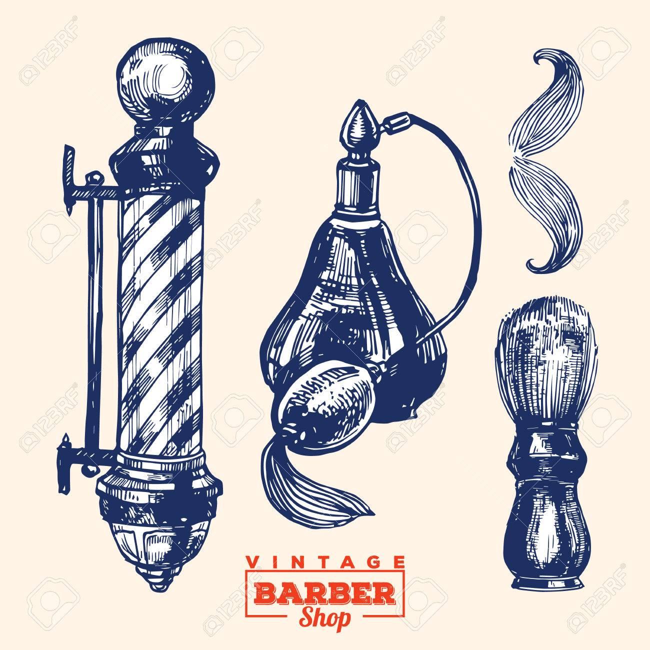 Vintage Barbershop Elements Set 1 Including Pole