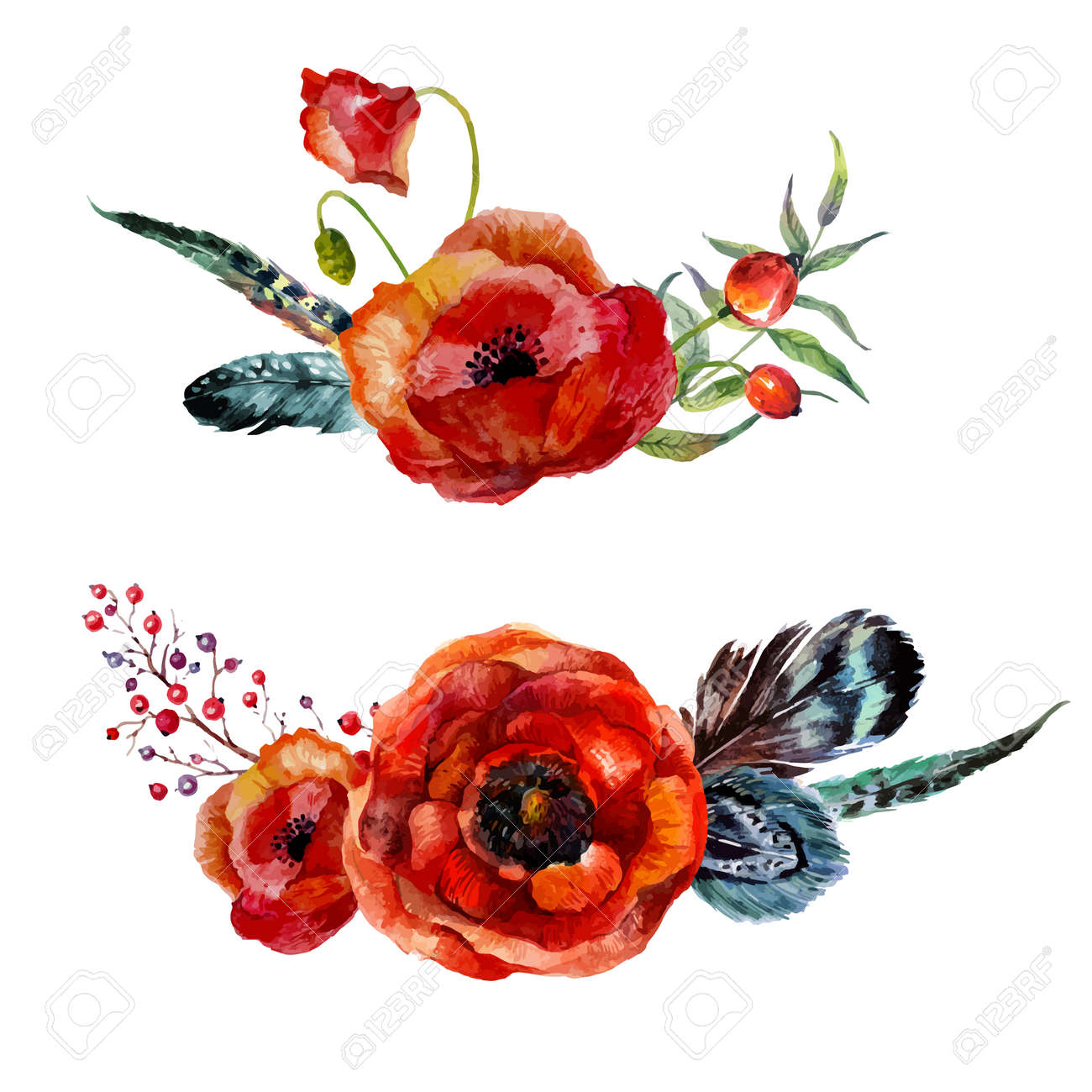 Watercolor Flowers Bouquet. Hand-drawn Vintage Red Poppies And ...