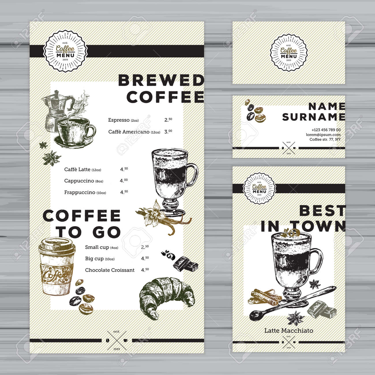 restaurant menu template cafe identity coffee menu design with