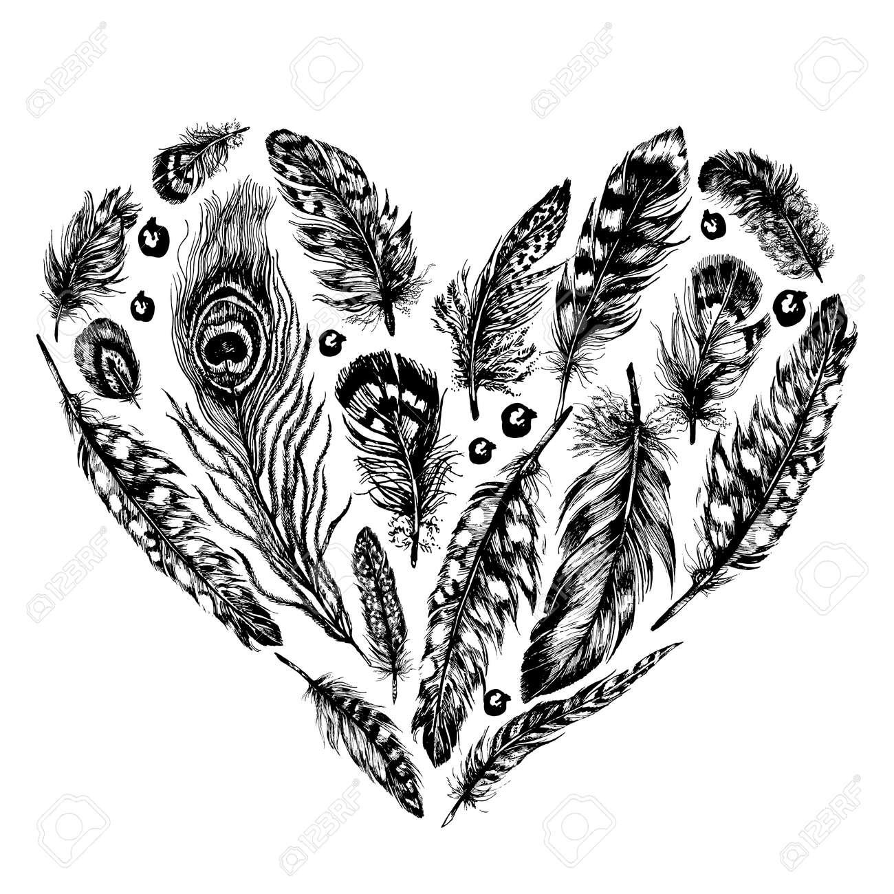 Léments Vectoriels De Conception Rustique à Dessin Encre Dessinée Coeur En Plumes Et Perles à La Mode Du Style Bohème Ensemble Rustique Vintage