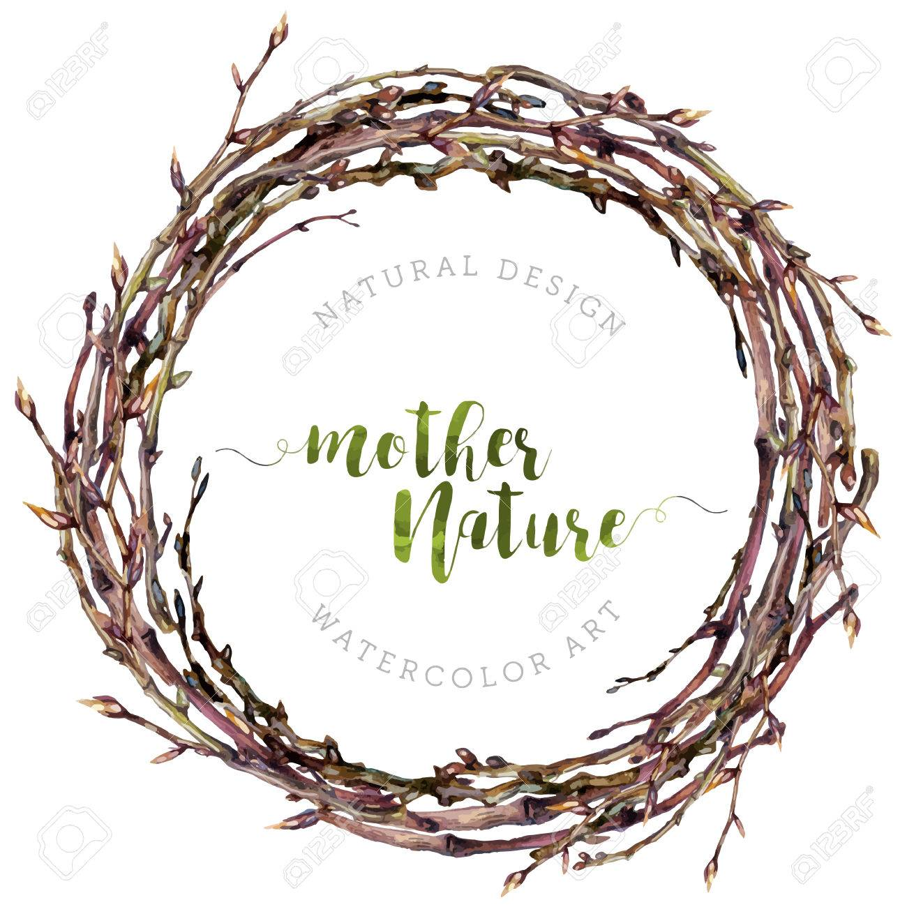 Watercolor Boho wreath made of dry twigs and osier branches isolated on white. Natural decoration. Wooden sticks garland. Christmas chaplet made of vine. Pussy-willow round frame. Vintage style. - 67828824