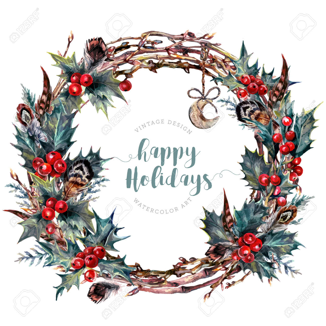 Watercolor Boho Christmas Wreath Made Of Dry Twigs Red Holly Royalty Free Cliparts Vectors And Stock Illustration Image 74140766