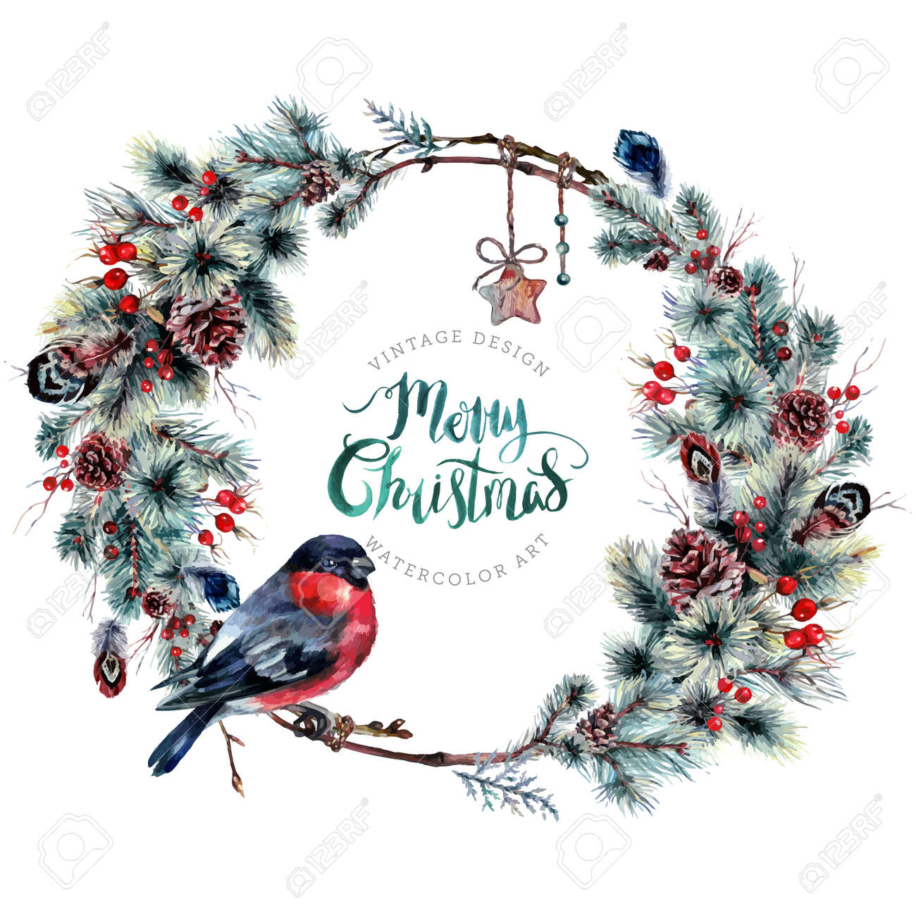 Watercolor Boho Christmas Wreath Made Of Twigs Pine Branches Royalty Free Cliparts Vectors And Stock Illustration Image 74140764